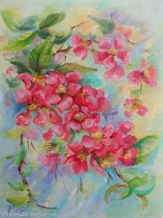 Quince Blossom, Red FLOWER, Flowering twig, Original oil painting, Still life, Painted from NATURE, Floral Wall Art, Framed ART, Home decor