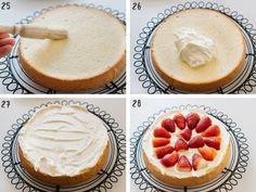 Strawberry Shortcake cake - Japanese version | Chopstick Chronicles Genoise Sponge Cake Recipe, Sponge Cake Recipes, Japanese Strawberry Shortcake, Strawberry Shortcake Recipes, Cakes Without Butter, Strawberry Sponge Cake, Japanese Cake, Frozen Strawberries, Cake Tins