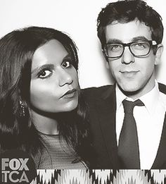Mindy Kaling & Bj Novak. Love these two together! Imagine how smart and funny their babies would be when Harvard and Dartmouth brains combine.