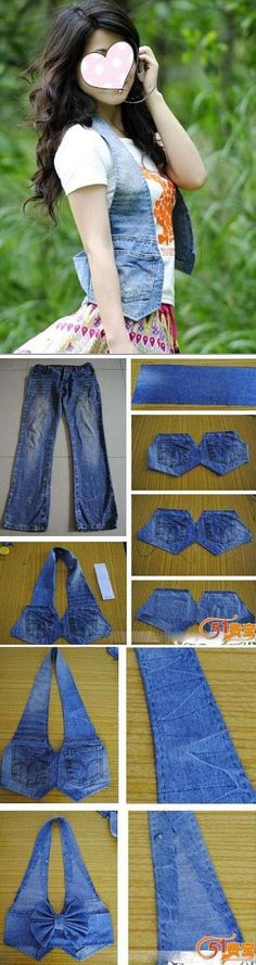 DIY jean vest made from old jeans