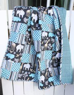 Custom order baby boy quilt in 'Sweet Baby Zoo' fabrics by Michael Miller Fabrics