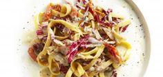 Tagliatelle met rauwe ham, radicchio en gorgonzola