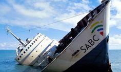 Spotprent, Afrikaanse Spotprent, Spotprent sinkende skip, Spotprent SAUK, Spotprent SABC
