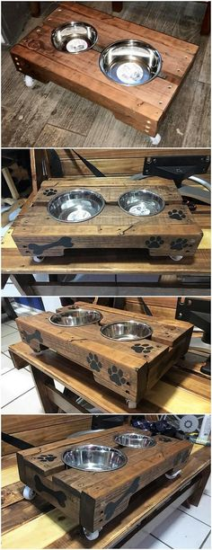 This is such a lovely design of the pallet dog bowl stand tyour hoThe polishing of the dog bowl stand has been done in such clean and tidy flavors, that you would not be able to figure out that whether the table is build with wood pallet material or not! Recycled Pallets, Wooden Pallets, Recycled Crafts, Pallet Crafts, Diy Pallet Projects, Wood Projects, Pallet Ideas, Diy Crafts, Woodworking Furniture