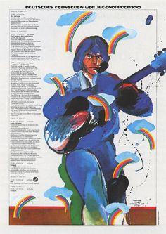 Heinz Edelmann, Poster Illustration of Neil Young, 1970s. WDR, Deutsches Fernsehen, Jugendprogramm.