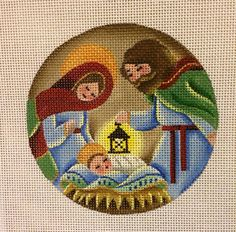 The French Knot added a new photo. Nativity Crafts, Nativity Ornaments, Religious Cross Stitch Patterns, Jesus E Maria, Plastic Canvas Ornaments, Cross Stitch Pictures, Beaded Angels, Needlepoint Patterns, Christmas Cross