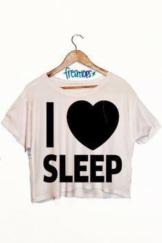 I Love Sleep Crop Shirt - Fresh-tops.com