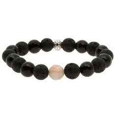 Charming Life Pewter Onyx and Lava Rock 'Sexy in Black' Bracelet (8.5 Men's Plus Size), Size: 8.5 Inch, Black