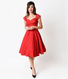 If you're simply enamored by all things 1950s (or Mad Men), you'll adore this red cap sleeved swing dress from our f...Price - $172.00-Oc0VLzGT