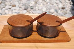 Luthje Condiment Set, Danish Vintage Teak serving set, vintage table wear, Marked Denmark, mid century decor