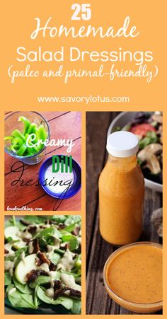 25 Homemade Salad Dressings. I'm always looking for new dressing ideas to spice up my salads.