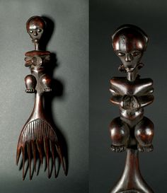 Africa | Comb from the Fang people of Gabon | Wood; dark brown patina. H: 38,5 cm | ca. early 20th century