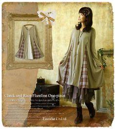「安妮坊」出口日本森女甜美蕾丝棉布拼接连衣裙 官网同步森林系