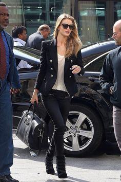 Rosie Huntington Whiteley in Balmain jacket and Balenciaga bag - All black outfit ideas and street style inspiration - #fashion #outfits #rosiehw