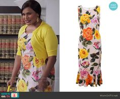Mindy's rose print dress on The Mindy Project. Outfit Details: https://wornontv.net/79180/ #TheMindyProject