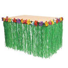 Hawaiian Luau Hibiscus Green Table Skirt 9Ft Party
