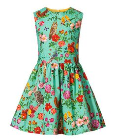 Another great find on #zulily! Turquoise Floral Dolfy Dress - Toddler & Girls #zulilyfinds