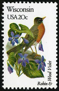♥ ◙ U.S.A. Wisconsin Postage Stamp, State bird and flower. ◙