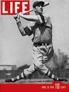 "Life, April 25, 1938, featuring John Thomas ""Long Tom"" Winsett. See more vintage baseball magazine covers here: http://www.robertnewman.com/10-great-baseball-magazine-covers/"