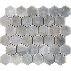 Afyon Grey Marble 2-inch Hexagon Polished Tile (2 Hexagon Polished on Mesh.)