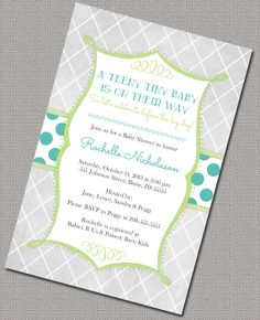 Neutral Baby Shower Invitation, Lattice and polkadots!