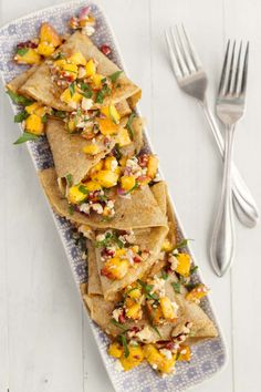 A fun and flavorful summer dinner showcasing fresh peaches tucked inside rye crepes and finished with blue cheese.