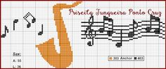Priscilla Junqueira Cross Stitch: Sax Diy Embroidery, Cross Stitch Embroidery, Cross Stitch Patterns, Saxophone, Crochet Music, Cross Stitch Music, Le Point, Projects To Try, Sewing