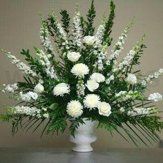 Wedding Flower Arrangements Large Flower Arrangements for Church Arrangements Funéraires, Funeral Floral Arrangements, Easter Flower Arrangements, Altar Flowers, Church Flowers, Funeral Flowers, Wedding Flowers, Ikebana, White Flowers