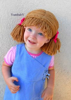 Cabbage Patch Wig Brown Pigtail Baby Hat by YumbabY on Etsy, $24.95 #cabbagepatch #wig #hat #halloween #costumes #baby #kids #handmade #yumbaby #etsy #wigs #hats #beanie