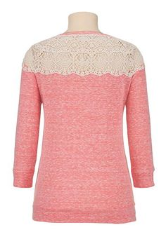 high-low crochet trim pullover - maurices.com small