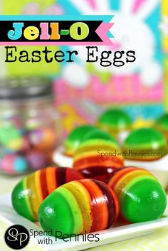 Easy to make, beautiful to look at and yummy to eat!  These Jell-O Easter eggs are one of my favorite easter treats!