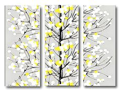 "Wall Art Wall Hanging 3 panel Marimekko Fabric Lumimarja Grey/Yellow  Superb Wall Hanging for a feature wall in your home or office. Brilliant yellow/green and white berries bring the joy of spring to this Lumimarja Wall Art Wall Hanging.. The arching branches of the ""snowberry"" tree are two shades of dark grey, and they look like the brushstrokes of a skilled painter. www.wallartsuk.com"