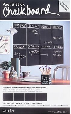Get organized without commitment! Not only can you wipe this chalkboard decal clean, you can also move it around, whether you need it in the kitchen, home office, or child's room.