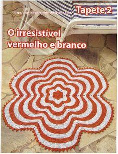 Martha Farineli Arte em Barbante: Tapete de croche em barbante de flor com gráfico