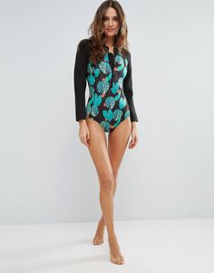 e61d7702018 ASOS Tropical Palm Leaf Scuba Long Sleeve Swimsuit
