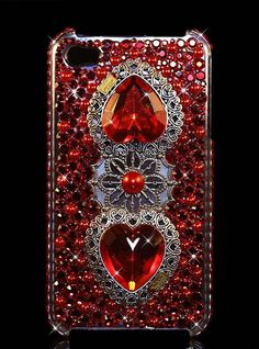 """Bling, Crystal, iPhone 5 Case, Handmade with SWAROVSKI ELEMENTS by OMG Crystals - """"Lovestruck (Deep Red)"""""""