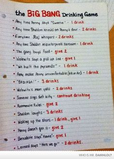 The Big Bang Drinking Game... (Tracy, this is you and me). #TheBigBangTheory