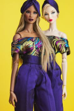 """A off-shoulder jumpsuit made in multi-coloured brocade. Matching """"turban"""" to complete the look."""