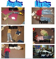 Teaching 4 Real: Having Fun With Geometry ~ Take a picture of the children acting out the vocabulary for lines and angles! So coooool!