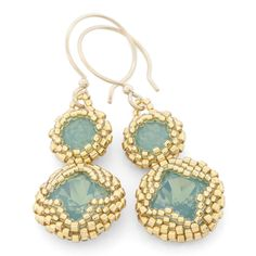 Lucite® Green Earrings | Fusion Beads Inspiration Gallery - FREE PATTERN