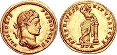 Crispus. Caesar, AD 316-326. AV Solidus (19mm, 4.50 g, 6h). Treveri (Trier) mint, 1st officina. Struck under Constantine I, AD 320.