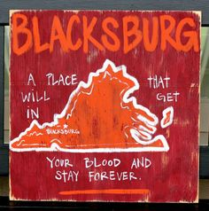 Southern College Towns Hand Painted Wood Sign.  Blacksburn, #Virginia  BourbonandBoots.com