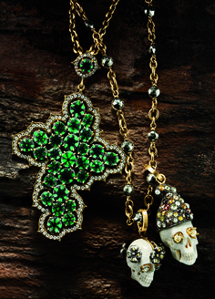 """SYLVA & CIE.  Trapiche emerald and diamond cross pendant, exclusively ours. $42,500. 18-karat gold link chain necklace. $6,500. Skull pendants with rough diamond detail. """"Juliet"""" $4,500. """"Romeo"""" $7,500. 18-karat gold link chain necklace with hematite. $6,875."""