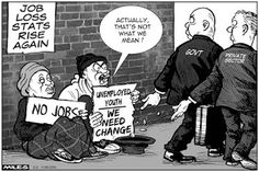 Cartoons by Miles - Short changed.  Scary statistics just released about unemployment in SA. Over 33 % and 3 out of five youth (between 15 and 34) have no jobs and probably didn't finish school.