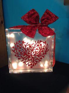 Valentine glass block with lights