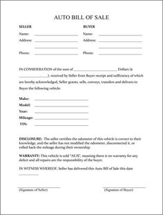 Bill Of Sale Sample Printable Sample Vehicle Bill Of Sale Template Form  Auto Purchase Agreement