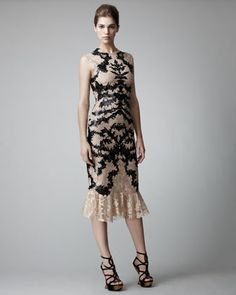 Leather & Lace Dress by Alexander McQueen at Bergdorf Goodman.