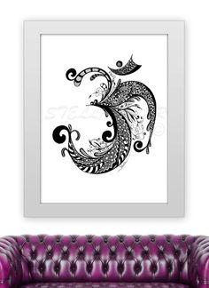 Yoga Zentangle OM - 11x14 print from original design and drawing, yoga studio decor,wall decor,home decor