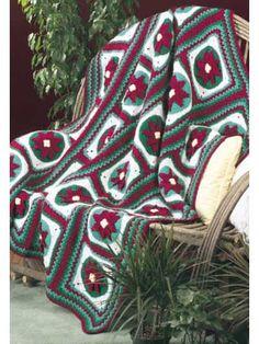 Crochet - Afghans - Granny Square - Christmas Poinsettia Afghan - #FC00015