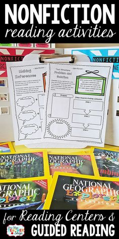 Nonfiction activities to reinforce reading comprehension skills. Perfect for reading centers and guided reading. More than a graphic organizer and No-Prep! Reading Binder, Reading Centers, Reading Workshop, Guided Reading Lessons, Teaching Reading, Teaching Ideas, Reading Comprehension Skills, Reading Strategies, Nonfiction Activities